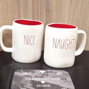 NWT HTF Rae Dunn NAUGHTY NICE Mug double sided red